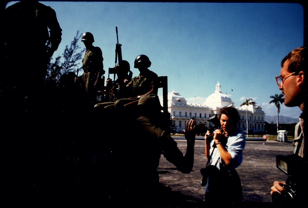 Maggie Steber in Haiti in 1986 -87. Photo by Alexandra Avakian.